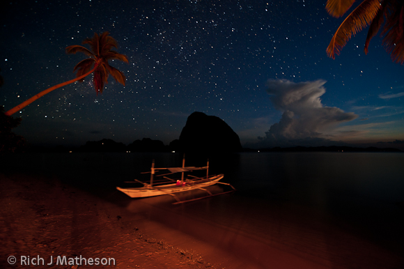 Pontoon Boat at night, Coron, Palawan Island, Philippines