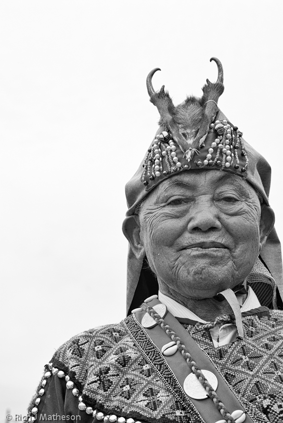 Taiwanese Bunun Aboriginal Tribesman with traditional headdress