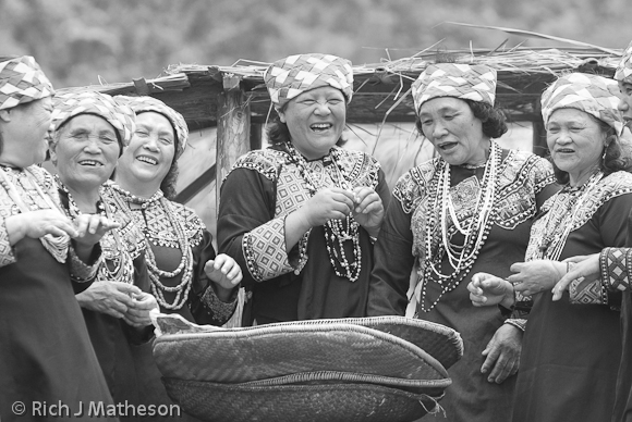 Bunun tribeswomen eat at the annual Bunun Ear Festival